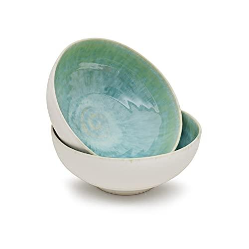Cozymondo - Moderne Bowlschalen aus Keramik (17cm) in grün/türkis I Hochwertiges portugiesisches Geschirr in eleganter Optik und handgemaltem Spiraldekor I 2 Müslischalen der Serie Primavera