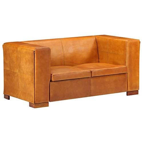 vidaXL Sofa 2-Sitzer Vintage Polstersofa Loungesofa Sitzbank Lederbank Polsterbank Sitzmöbel Ledersofa Wohnzimmersofa Hellbraun Echtleder