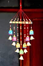 SPK Home decor Wooden Handpainted and Handmade Decorative Hanging Wind Chimes (Multicolour, 45 cm)