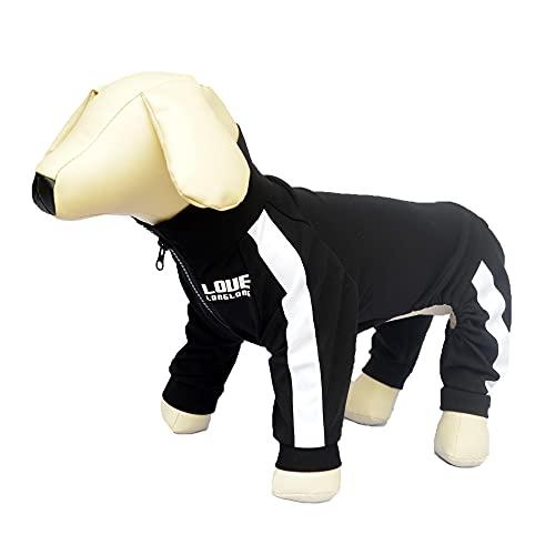 Hunde-Sweatshirt Reißverschluss Hund Sportanzug 4 Beine bedeckt Hundekleidung Bequem Atmungsaktiv Hundepullover für Kleine Mittlere Große Hunde Schwarz XXXL