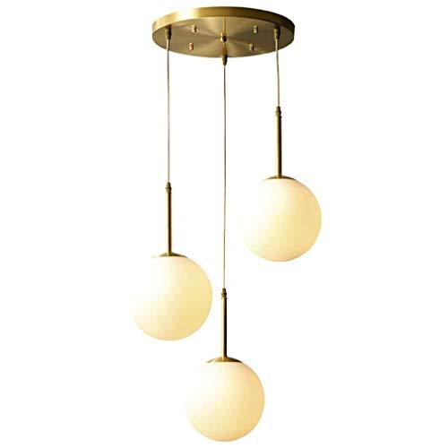 Lámpara de dormitorio de estilo europeo, sala de estar, restaurante, dormitorio, sala de estudio simple, lámpara colgante de tres cabezas [Clase energética A +]