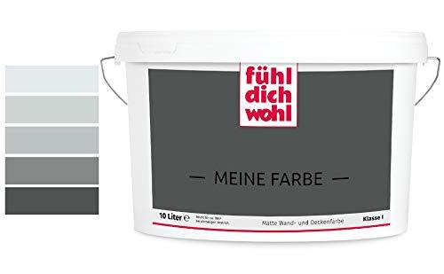 Fühl Dich Wohl Meine Farbe grau, matte Wandfarbe grau, hohe Deckkraft, verschiedene Grautöne zur Auswahl (2,5L, Anthrazitgrau 15-60)