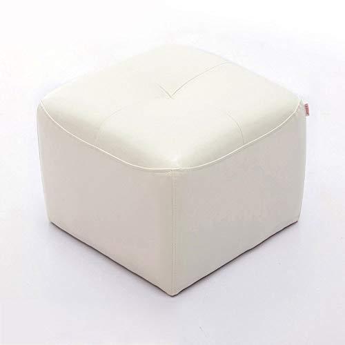 BYTGK F0306 Voetenbank, stoel, sofameubilair, Osmanen, wooncultuur, bank met lederen zitkruk, kleur wit