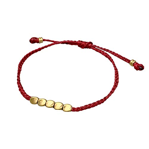 Reclaiming Zen Tibetan Buddhist Handmade Lucky Knot Wax Thread Bracelet with Copper Beads (Red)