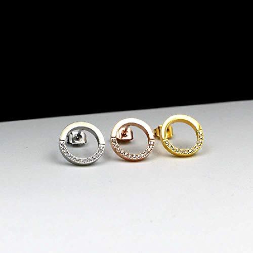 wangtao Cirkel Halve Cirkel CNC Micro-studs Oorbellen Vrouwelijke Match Titanium Diamanten Oorbellen Met Diamanten Ring