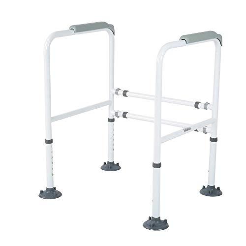 Haltegriff, 113kg WC-Aufstehhilfe Sicherheitsgestelle Toiletten Stützgestell Haltegriff Stützgriff mit 4 starken Sauggummisaugern für Senioren Schwangere Deaktiviert, Höhenverstellbar 68-80,5 cm