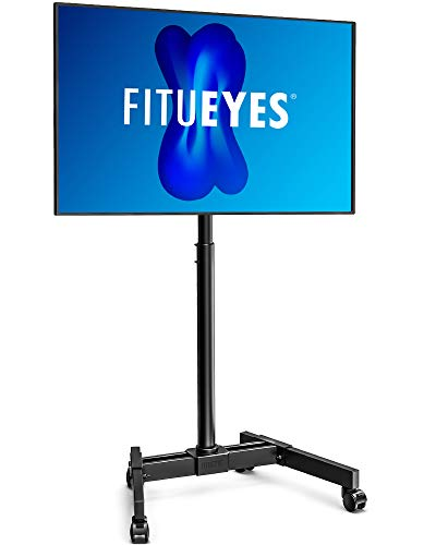 FITUEYES Mobile TV Stand Height Adjustable for 13-42 inches Flat Screens Rolling Floor Display Stand Cart with Lockable Wheels