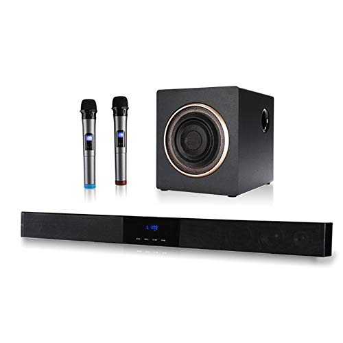 YQQWN 39-Pulgadas subwoofer inalámbrico Barra de Sonido, Potente subwoofer y Sistema de Altavoz micrófono inalámbrico micrófono de Karaoke-Home Theater Surround Sound para la TV - Bluetooth