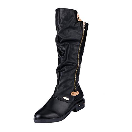 MOTOCO Damen Frauen Stiefe Mode Western Style Cowboy Reitstiefel Übergröße Knight Stiefel High Tube Stiefel(37 EU,Schwarz 1)