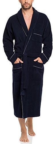Timone Albornoz de Terciopelo Vestidos de Casa Hombre 274 (Azul Oscuro, XL)