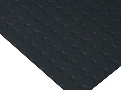 HuleHule Rutschfester Vinyl-Bodenbelag P.V.C. mit schwarzen Punkten, resistent gegen äußere Einflüsse, Relief in Kreisen (140_x_500_cm)
