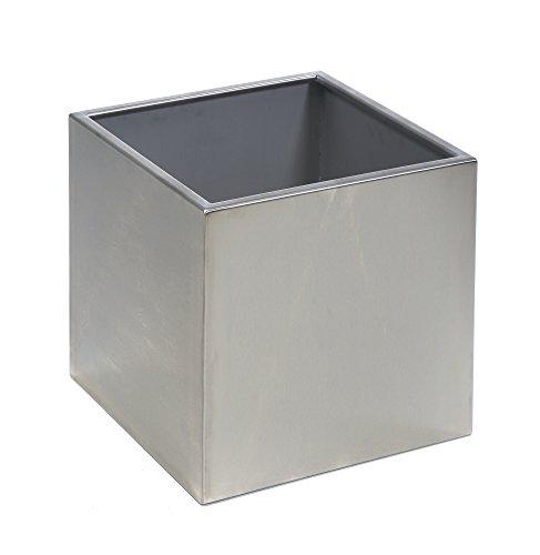 acerto 38343 Pot en Acier Inoxydable, 50x50x50x50cm * Résistant au Gel * Résistant aux intempéries * Résistant aux intempéries * INOX * Pot de Haute qualité   XXL Pot à Fleurs pour l'intérieur