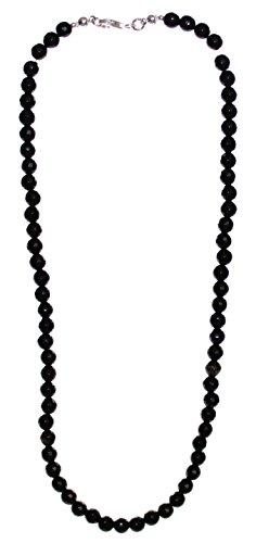 schwarze Onyx Kugel Kette 6 mm facettiert mit 925er Silberverschluss, Perlenkette 45 cm