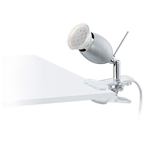 Eglo Lampe pince banny LED, plastique, acier inoxydable 1 x GU10 3 W LED Ampoule incluse, interrupteur pour un dans le câble/lampe orientable par Rotule Sur le socle, 13 cm, transparent/chromé/Argent 93119