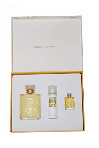 Estuche Azahar Adolfo Domínguez. Contiene 1 frasco colonia 100 ml con vaporizador + desodorante 50 ml + colonia 7 ml