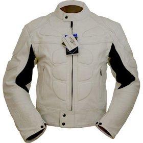 4LIMIT Sports Motorradjacke Leder Streetbandit Biker Rocker, Weiß, Größe L