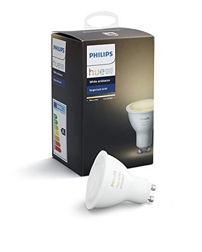 Philips Hue White Ambiance - Bombilla LED individual (1 x 5.5 W, GU10, iluminación inteligente - tonos de luz blanca cálida y fría regulable, compatible con Apple Homekit y Google Home)