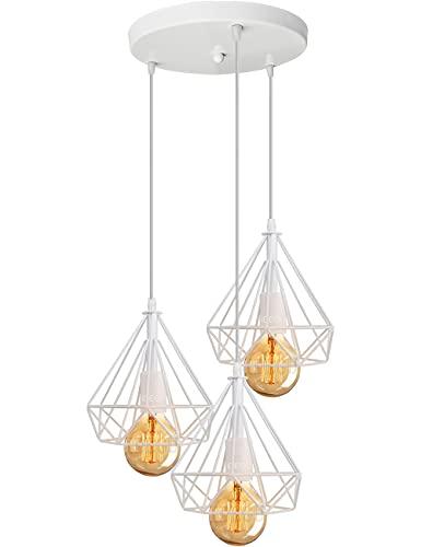 iDEGU 3 Luces Lámpara Colgante Vintage de Forma de Diamante Metal Lámpara de Techo industrial Jaula Iluminación E27 para comedor, Dormitorio, Café, Barra de Lectura (Blanco)