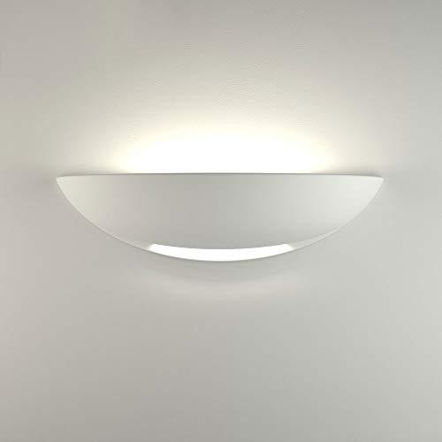 Vetrineinrete® Applique da parete mezza luna in gesso doppia emissione verniciabile lampada con attacco r7s moderno per illuminazione IP20 N31