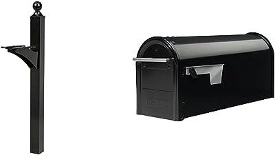 Gibraltar Mailboxes Landover Aluminum Black, Mailbox Post, LP000B00 & Franklin Medium Capacity Galvanized Steel Black, Post-Mount Mailbox, FM110B00