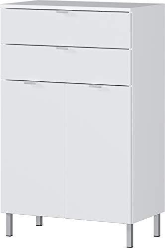 Germania Kommode 8531-84 GW-MAURESA, in weiß, Fronten in Hochglanz, zwei Schubkästen, 60x97x34 cm (BxHxT)