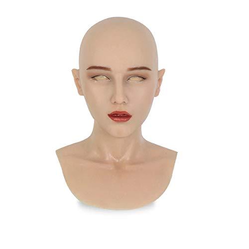 WZP- Transvestite Silikon Kopfmaske Realistische weibliche Kopfmaske Realistische Silikon Maskerade Maske Handgemachtes Silikon Crossdressing für Crossdresser Cosplay (Ohne Kleidung Perücken)
