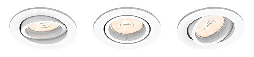 Philips Donegal Einbaustrahler, 3Stück, Sockel GU10, rund, weiß
