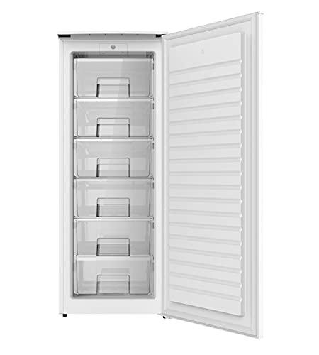 Congelador Vertical PROXY, color blanco, 1,43 m de alto x 55,4 cm de ancho con clasificación energética F