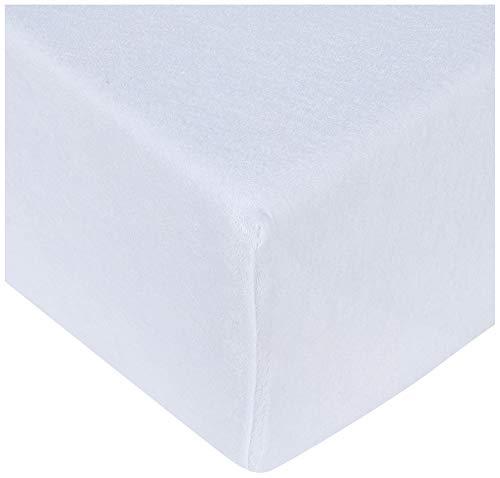 Biberna 0012344 Lenzuolo Frottee-Stretch (Altezza Materasso Max.22 cm), Spugna Elasticizzata, Blanc, 1x 90x190 cm  100x200 cm