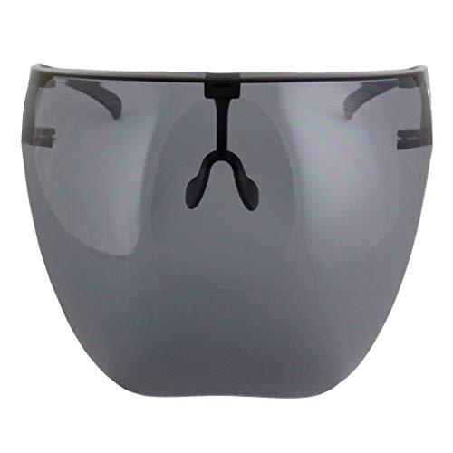 Futuristic Protective Face Shield Full Cover Mirrored Visor Sunglasses for Men Women (Black)