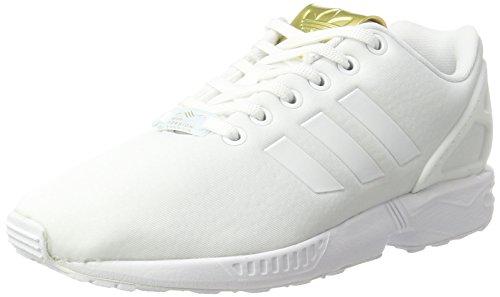 adidas ZX Flux, Baskets Basses Femme, Blanc (Footwear White/Footwear White/Gold Metallic), 38 EU