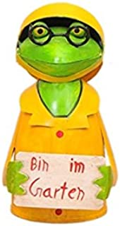 Exner Zaunhocker Frosch mit Schild//Spruch