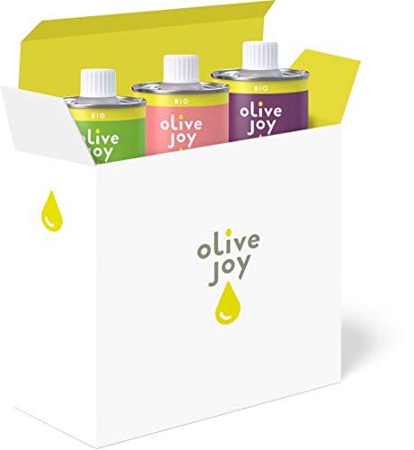 Natives Olivenöl extra von olive joy | Bio Geschenk-Box | 3 sortenreine griechische Olivenöle | Jahrgang 20/21 | kaltgepresst | vegan | Ideales Gourmet Geschenkset | 3 x 250ml Olivenoel Flasche