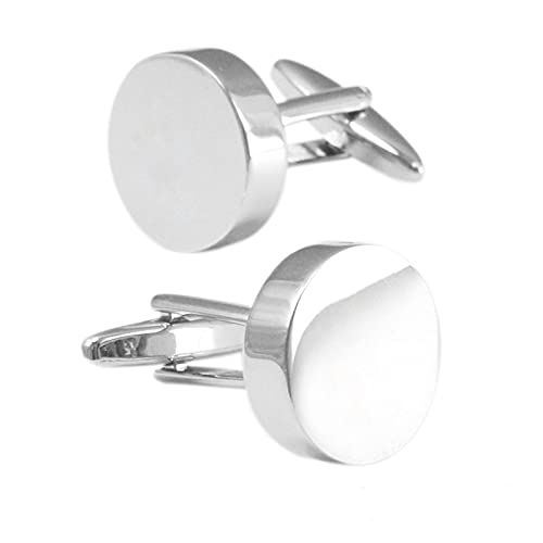 YSJJWDV Gemelos Grabado Gratuito Logo Gemelos for Camisa for Hombre Camisa Especial Gemelos de Regalo Botones Color de Plata en Blanco (Metal Color : Silver Plated)