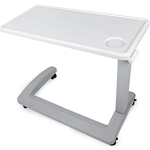 Vaunn Medical Adjustable Overbed Bedside Table with Wheels (Hospital and Home Use), New Tabletop