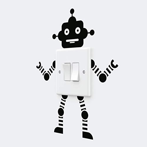 Pegatinas de pared de vinilo para niños con interruptor de luz de robot