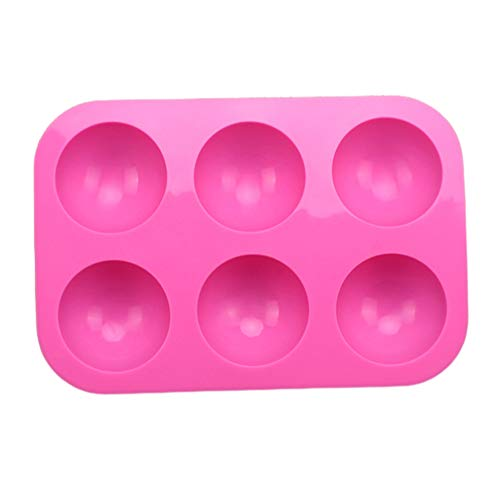 6 Holes Silicone Mold Non-Stick Half Ball Sphere Cupcake Baking Pan Chocolate Molds Baking Tools Kitchen Supplies for Making Chocolate, Cake, Jelly, Dome Mousse (Pink, 2Pcs)