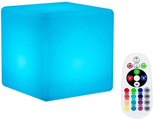 LED Cube Boules Lumineuse, DINOWIN étanche Éclairage d'Ambiance Lampe,Rechargeable 16RGB Couleurs Changeantes pour Décoration Cadeau Avec télécommande (15x15x15cm)