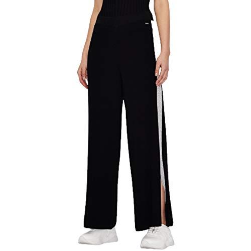 Armani Exchange Wide Fit Sweatpants Pantalón Deporte, Negro, L para Mujer