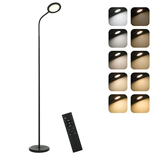 Tomshine Lámpara de Pie 15W Control Remoto y Control Táctil Admite Ajuste de Temperatura de Color lineal,para Salón,Dormitorio,Oficina (Nero)
