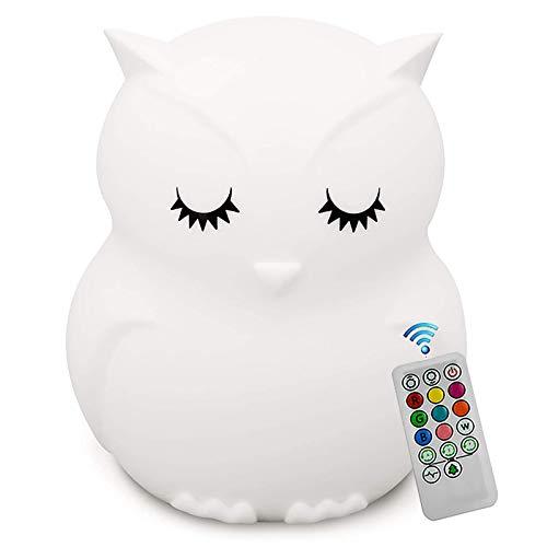 QJUU luz Nocturna Infantil, LED Silicona Blanda Búho luz Nocturna con 9 Colores cambiando USB Recargable Control Remoto y táctil Regulable, cumpleaños para niños