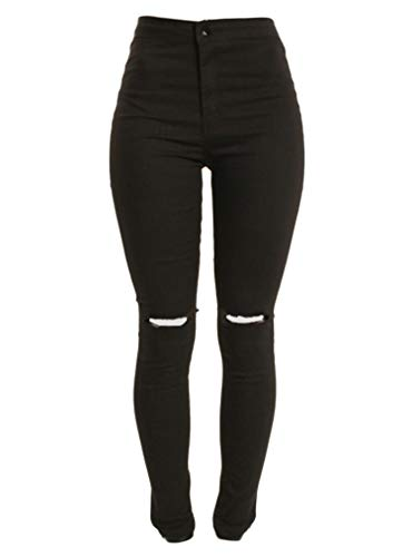 Andongnywell Women's Oversized Stretch Knee Ripped Jeans Mid Waist Knee Skinny Distressed Boyfriend Denim Pants (Black,Large)