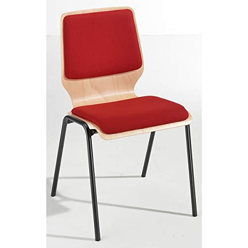 Holz-Schalenstuhl, gepolstert - VE 4 Stk, Gestell beschichtet - Polster rot - Besucherstuhl Holzstapelstuhl Holzstapelstühle