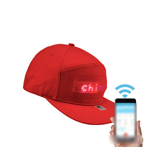 Hip Hop Hats, for Men Women Bluetooth LED Hat Programmable Credit Roll Message Display Board Baseball Hip Hop Party Golf Cap,Rot