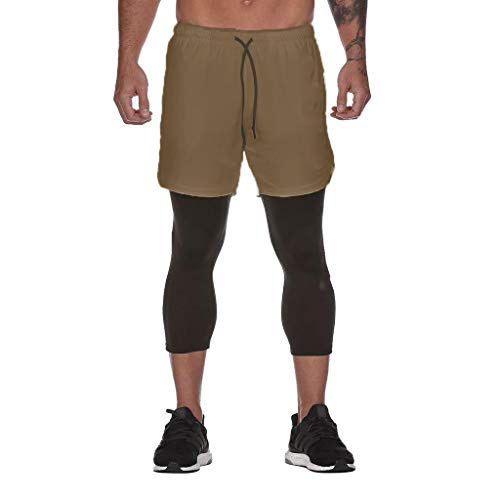 Honestyi Herrenmode Sport Fitness Hosen mit Innentasche Fitness Hosen DK 000 Herren Inside Pocket Sports Fitness Cropped Pants