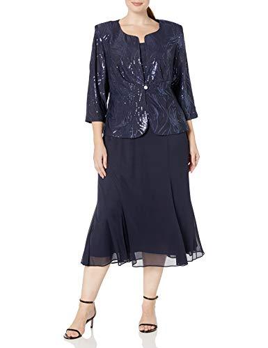 Alex Evenings Women's Plus Size Tea Length Button-Front Jacket Dress, Navy, 22W (Apparel)