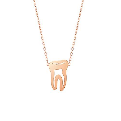 LUSSO Mini colgante de diente lindo collar de joyería para dentista doctora enfermera regalo M dorado