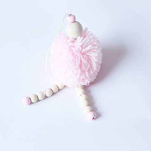Esshangmao. HZZ-Einfach Kind-Zelt Haarball-Engel Holzperlen Villain hängende Dekoration Spielzeug (pink) (Color : Pink)