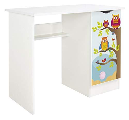 Leomark Białe funkcjonalne biurko - ROMA - z szafką, dla dzieci młodzieży do nauki, idealne pod laptopa, wysokość: 77 cm, nadruk UV, motyw Sowy