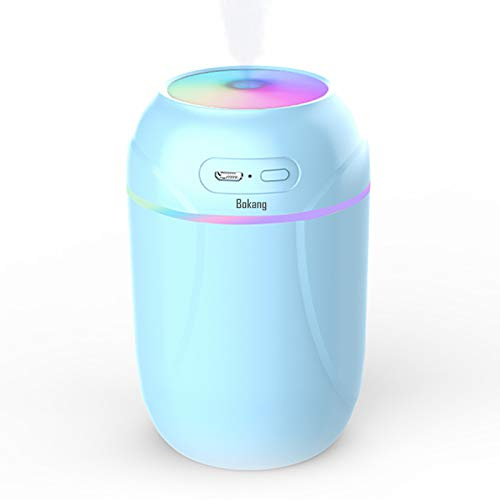 Bokang Portable Humidifiers, Small Cool Mist Ultrasonic Humidifier with Colorful Light,Auto Shut-Off, 2 Mist Modes, USB Personal Desktop Humidifier for Car, Office Room, Bedroom, Plants, etc. Super Quiet. (Blue)